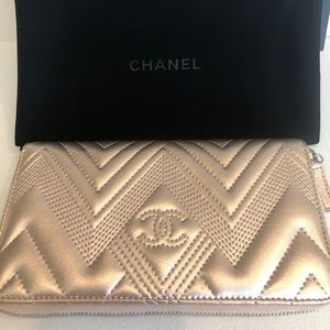 Chanel lamb skin long wallet
